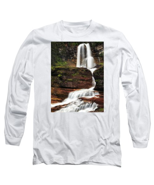 Virginia Falls Glacier National Park Long Sleeve T-Shirt by John Vose