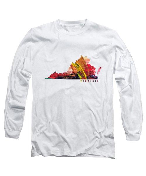 Virginia Map Art - Painted Map Of Virginia Long Sleeve T-Shirt
