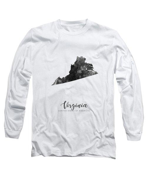 Virginia State Map Art - Grunge Silhouette Long Sleeve T-Shirt
