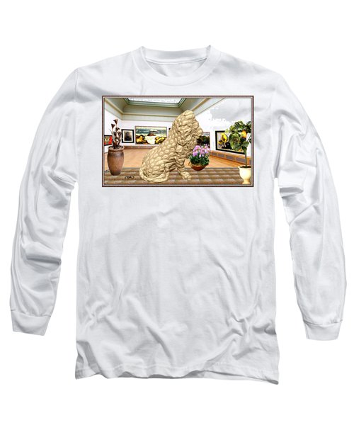 Virtual Exhibition - Statue Of A Lion Long Sleeve T-Shirt by Pemaro