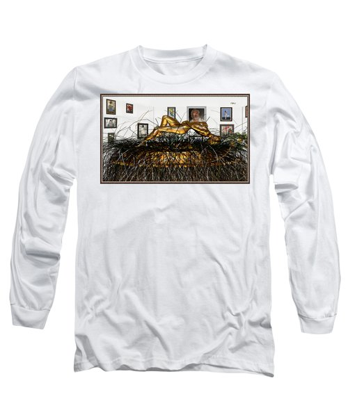 Long Sleeve T-Shirt featuring the mixed media Virtual Exhibition With Birthday Cake by Pemaro