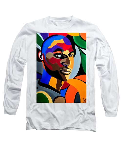 Visionaire, Abstract Male Face Portrait Painting - Illusion Abstract Artwork - Chromatic Long Sleeve T-Shirt