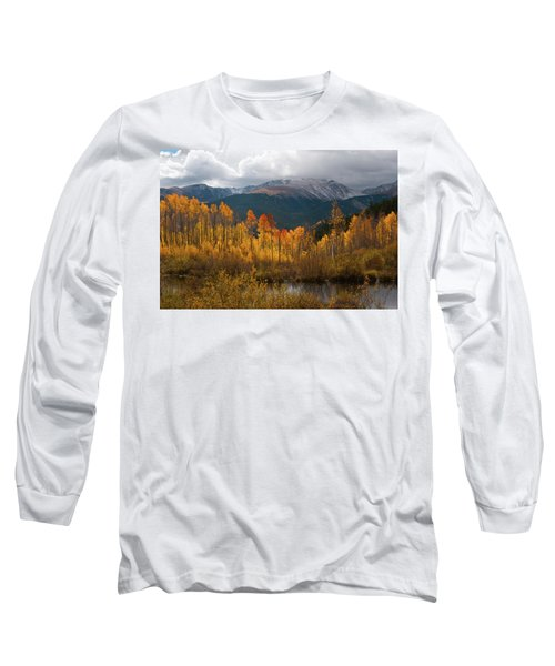Vivid Autumn Aspen And Mountain Landscape Long Sleeve T-Shirt