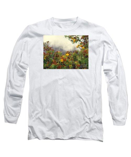 Volcano Scene Reunion Island Long Sleeve T-Shirt by John Potts