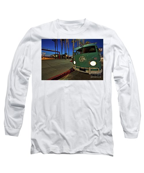 Volkswagen Bus At The Imperial Beach Pier Long Sleeve T-Shirt by Sam Antonio Photography