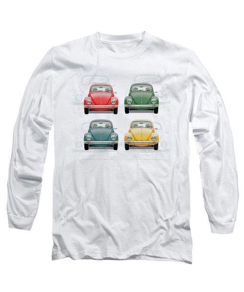 Volkswagen Type 1 - Variety Of Volkswagen Beetle On Vintage Background Long Sleeve T-Shirt