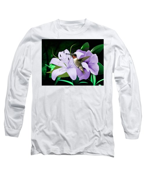 Long Sleeve T-Shirt featuring the mixed media Voyage Hummingbird by Marvin Blaine