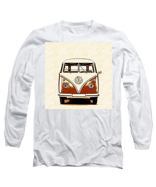 Vw Van Graphic Artwork Orange Long Sleeve T-Shirt