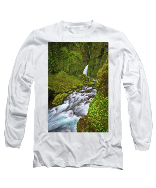 Long Sleeve T-Shirt featuring the photograph Wahclella Falls by Darren White