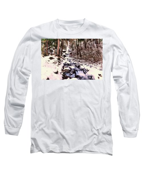 Long Sleeve T-Shirt featuring the photograph Wahkeena Falls In Ice by Jeff Swan