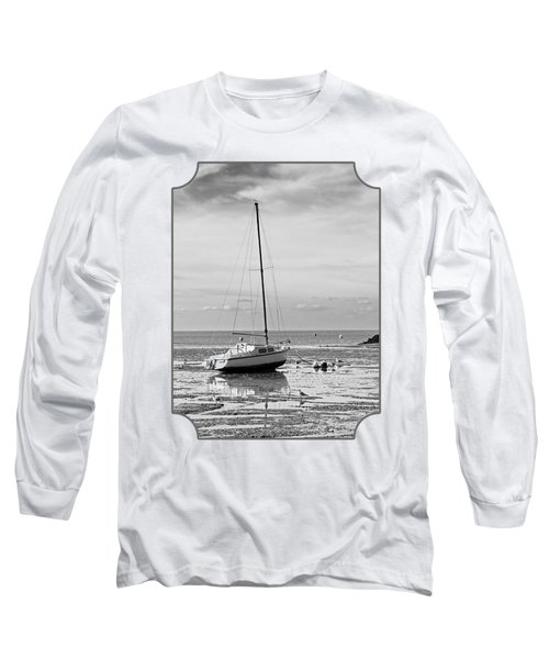 Waiting For High Tide Black And White Long Sleeve T-Shirt