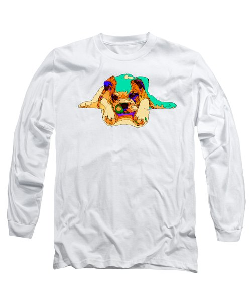 Waiting For You. Dog Series Long Sleeve T-Shirt by Rafael Salazar