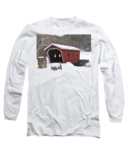 Walking Bridge At Kent Falls State Park 1 Long Sleeve T-Shirt