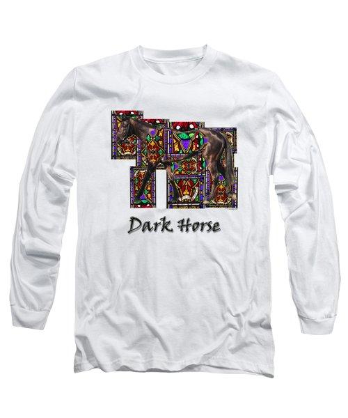 Walking Horse 2 Dark Horse Long Sleeve T-Shirt by Tom Conway