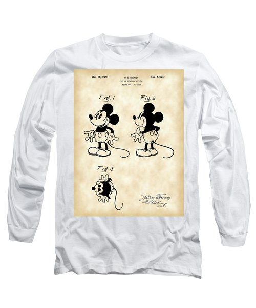Walt Disney Mickey Mouse Patent 1929 - Vintage Long Sleeve T-Shirt by Stephen Younts