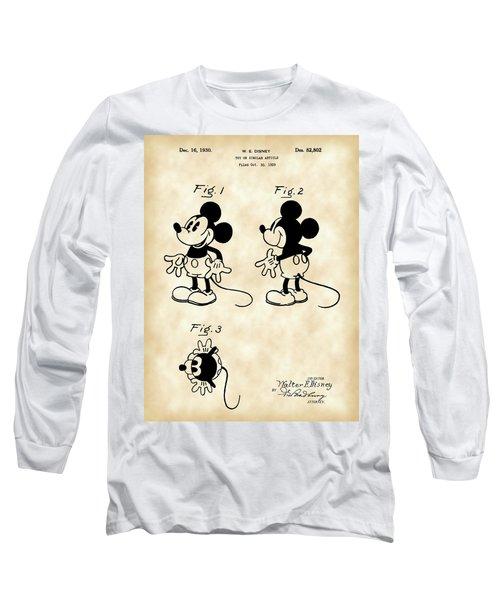 Walt Disney Mickey Mouse Patent 1929 - Vintage Long Sleeve T-Shirt