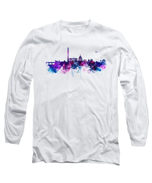 Washington Dc Skyline Long Sleeve T-Shirt by Marian Voicu