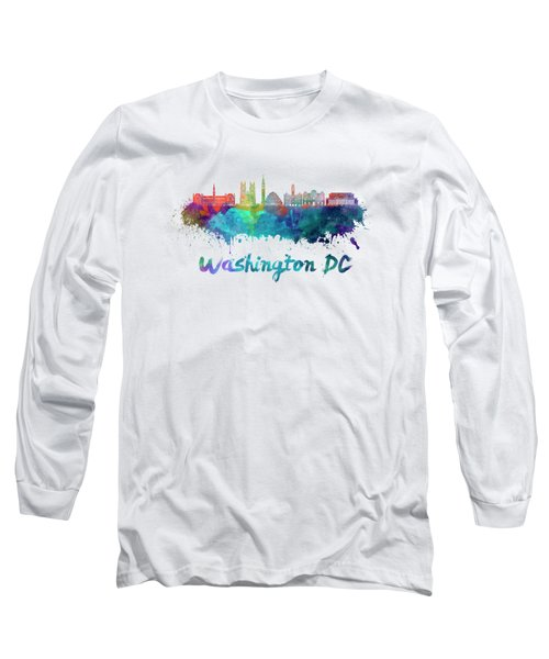 Washington Dc V2 Skyline In Watercolor Long Sleeve T-Shirt