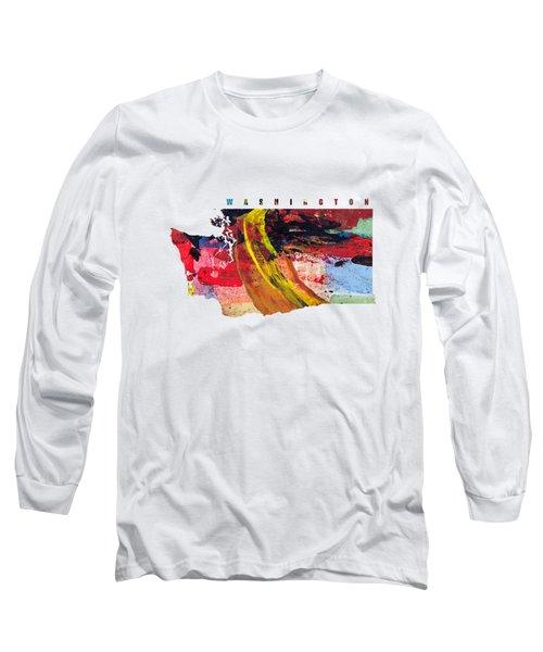 Washington Map Art - Painted Map Of Washington Long Sleeve T-Shirt