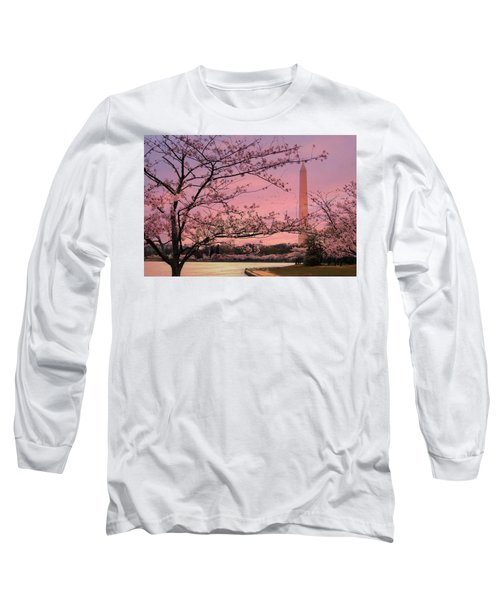 Long Sleeve T-Shirt featuring the photograph Washington Monument Cherry Blossom Festival by Shelley Neff