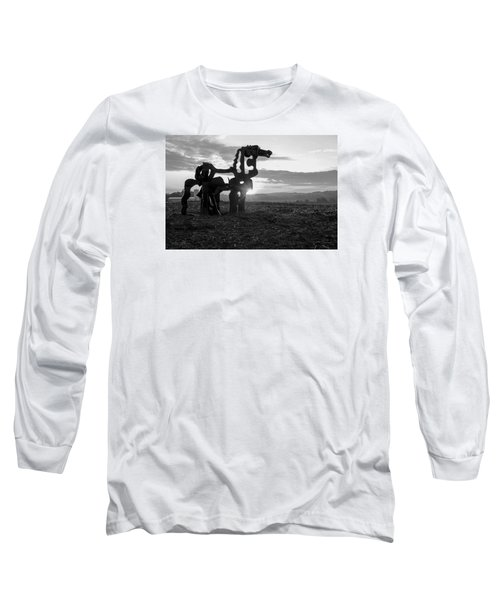 Watchful The Iron Horse  Long Sleeve T-Shirt by Reid Callaway