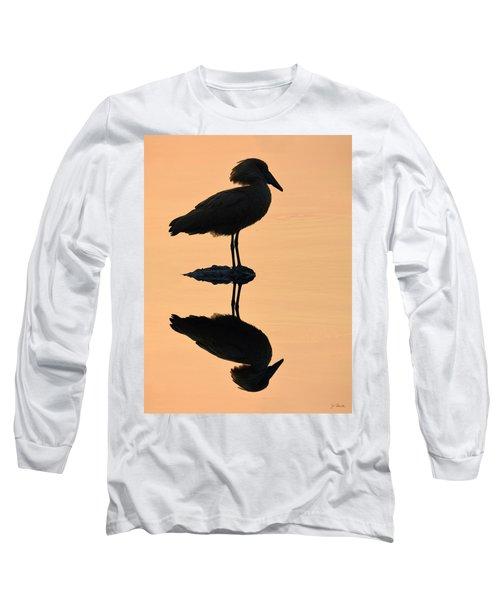 Waterbird Silhouette At Dusk Long Sleeve T-Shirt by Joe Bonita