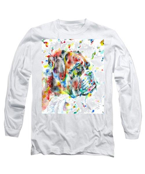 Watercolor Boxer Long Sleeve T-Shirt