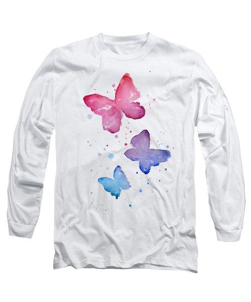 Watercolor Butterflies Long Sleeve T-Shirt by Olga Shvartsur