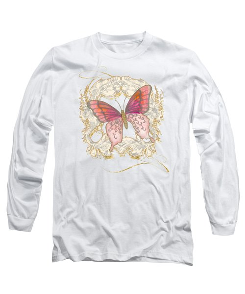 Watercolor Butterfly With Vintage Swirl Scroll Flourishes Long Sleeve T-Shirt by Audrey Jeanne Roberts