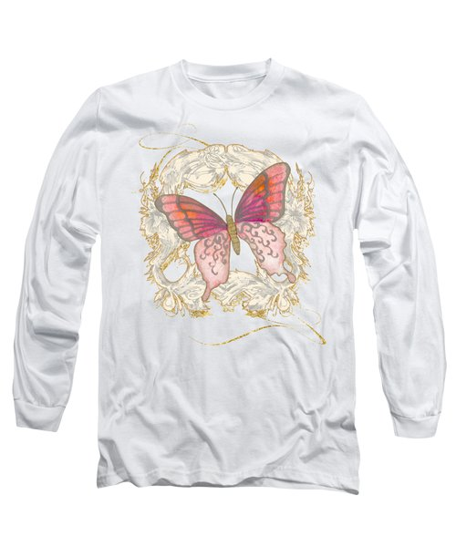 Watercolor Butterfly With Vintage Swirl Scroll Flourishes Long Sleeve T-Shirt