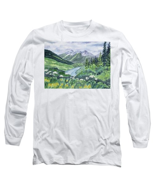 Watercolor - Colorado Summer Landscape Long Sleeve T-Shirt