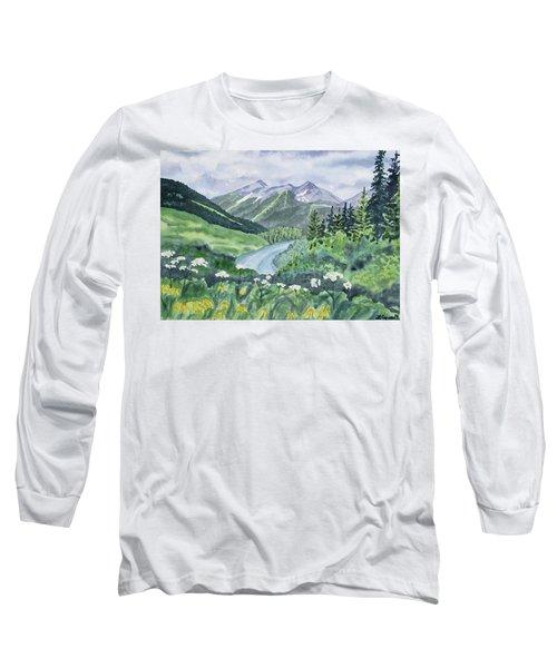 Watercolor - Colorado Summer Landscape Long Sleeve T-Shirt