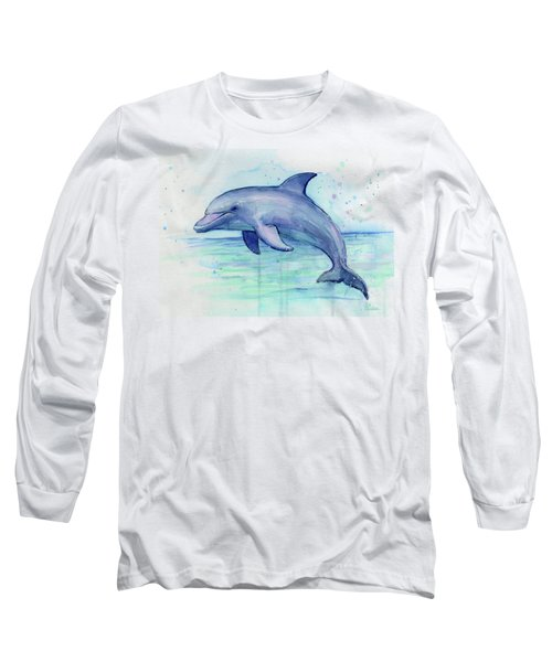 Watercolor Dolphin Painting - Facing Right Long Sleeve T-Shirt