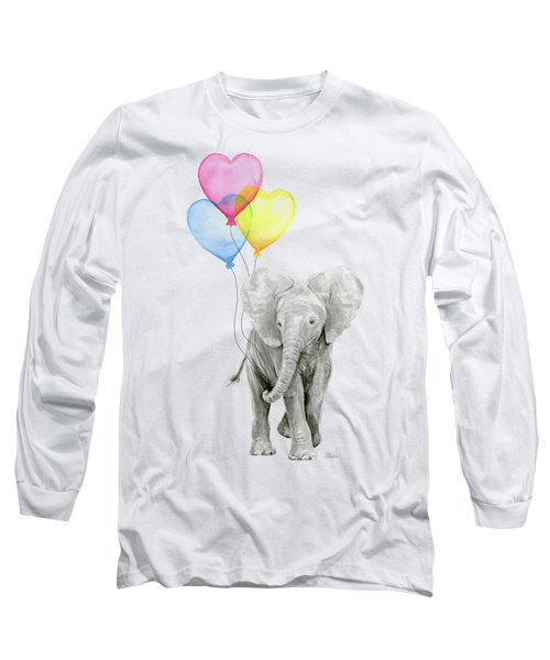 Watercolor Elephant With Heart Shaped Balloons Long Sleeve T-Shirt by Olga Shvartsur