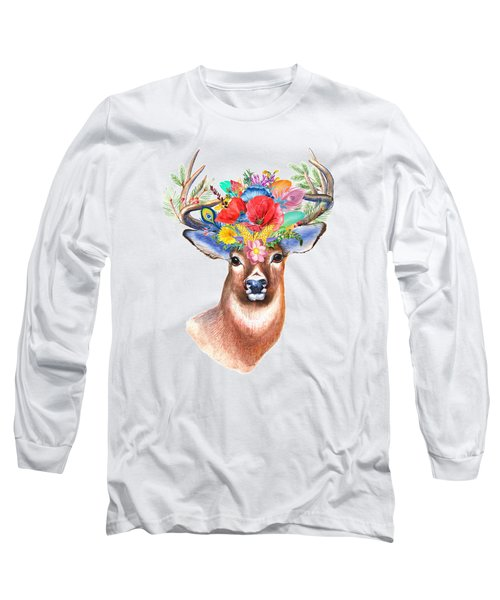 Watercolor Fairytale Stag With Crown Of Flowers Long Sleeve T-Shirt by Modern Art