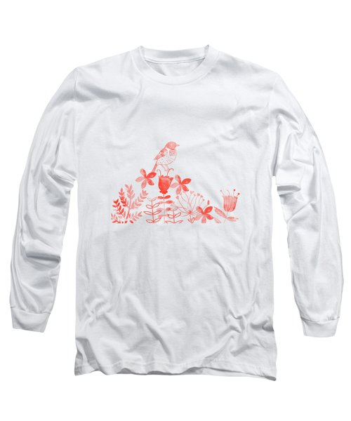 Watercolor Floral And Birds Long Sleeve T-Shirt