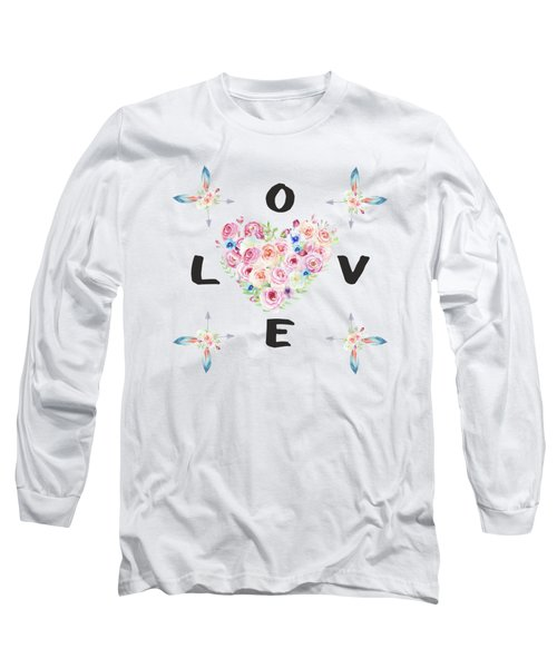 Watercolor Flowers Arrows Love Typography Long Sleeve T-Shirt
