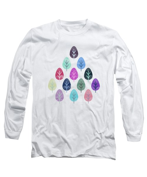 Watercolor Forest Pattern  Long Sleeve T-Shirt by Amir Faysal