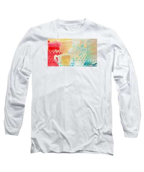 Watercolor Glassware Long Sleeve T-Shirt by Bonnie Bruno