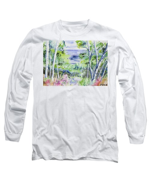 Watercolor - Lake Superior Impression Long Sleeve T-Shirt