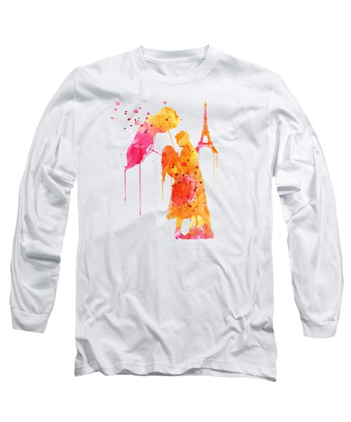 Watercolor Love Couple In Paris Long Sleeve T-Shirt by Marian Voicu