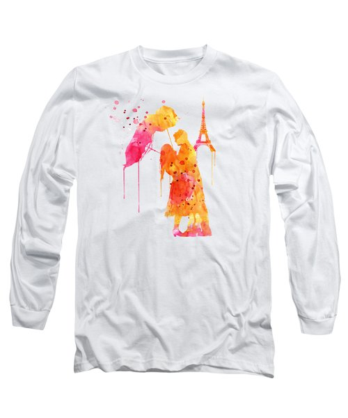 Watercolor Love Couple In Paris Long Sleeve T-Shirt