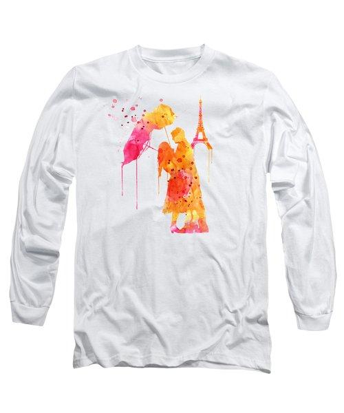 Watercolor Love Couple In Paris Long Sleeve T-Shirt