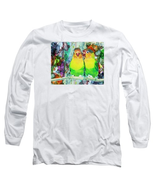 Watercolor Neon Parrots Bird Painting Watercolor Abstract Long Sleeve T-Shirt