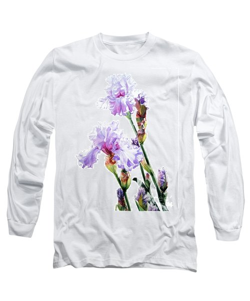 Watercolor Of A Tall Bearded Iris I Call Lilac Iris Wendi Long Sleeve T-Shirt