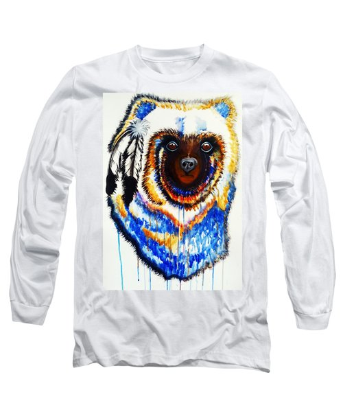 Watercolor Painting Of Spirit Of The Bear By Ayasha Loya Long Sleeve T-Shirt by Ayasha Loya