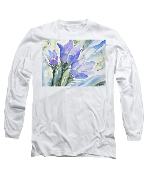 Watercolor - Pasque Flowers Long Sleeve T-Shirt
