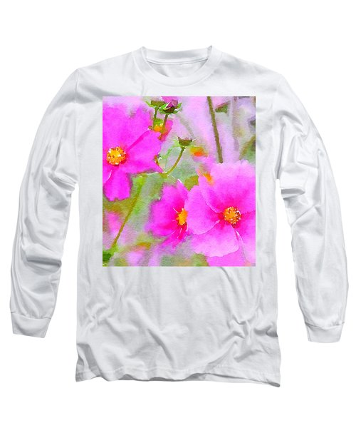 Watercolor Pink Cosmos Long Sleeve T-Shirt by Bonnie Bruno