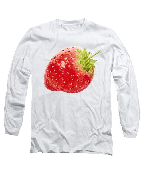 Watercolor Strawberry Long Sleeve T-Shirt by Kathleen Skinner