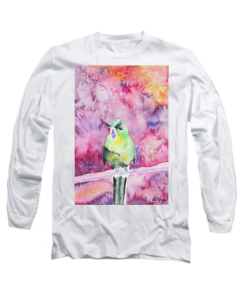 Watercolor - Violet-tailed Sylph Long Sleeve T-Shirt